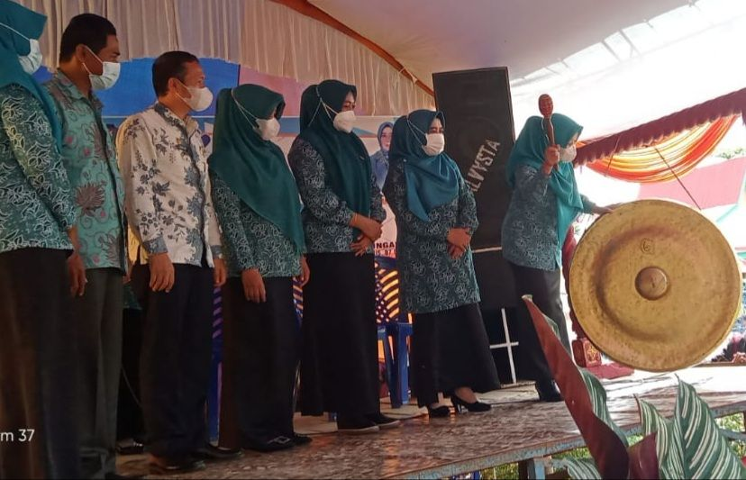 Ketua TP PKK Provinsi Jambi Hj. Hesti Haris dan Ketua TP PKK Kabupaten Merangin Hj Nurhaida